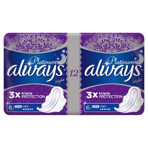 Always Platinum Night Hygienické Vložky 12 ks