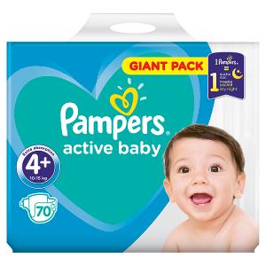 Pampers Active Baby Velikost 4+, 70 Plenek, 10-15kg