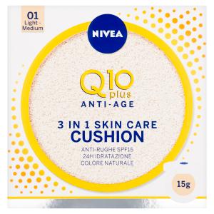 Nivea Q10 Plus Anti-Age Cushion Pečující tónovací krém v houbičce 3 v 1 01 světlý-střední odstín 15g