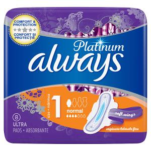 Always Platinum Normal (Velikost 1) Hygienické Vložky SKřidélky 8 ks