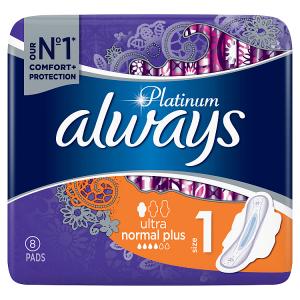 Always Platinum Normal (Velikost1) Hygienické Vložky SKřidélky 8Ks