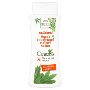 Bione Cosmetics Bio Cannabis zvláčňující čisticí odličovací pleťové mléko 255ml