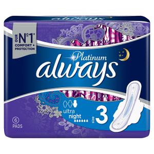 Always Platinum Night (Velikost4) Hygienické Vložky SKřidélky 6Ks