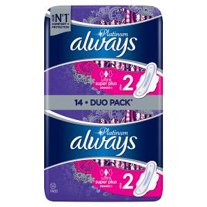Always Platinum Long Plus (Velikost2) Hygienické Vložky SKřidélky 14 Ks