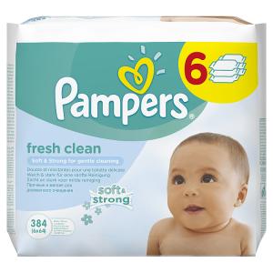 Pampers Fresh Clean Vlhčené Ubrousky 6x64 ks