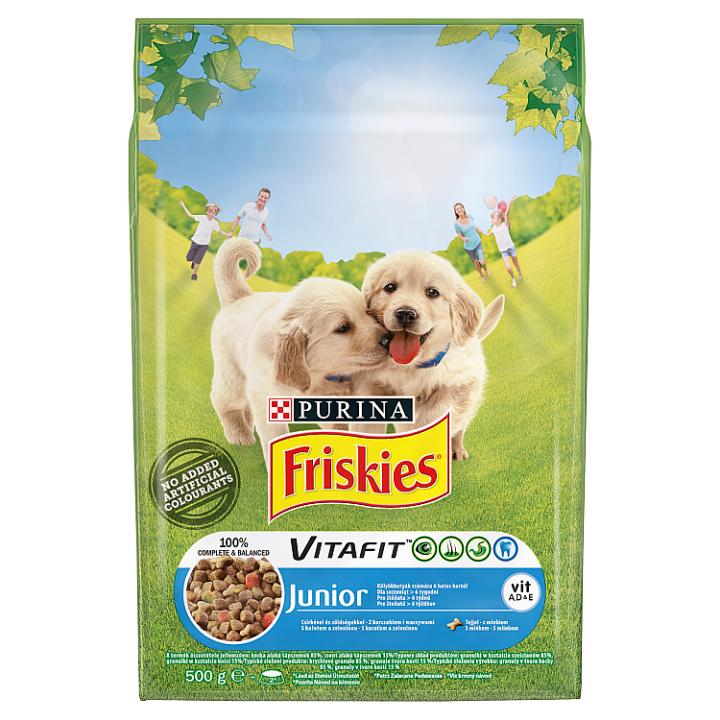 FRISKIES® pro štěňata s kuřetem a zeleninou s mlékem 500g