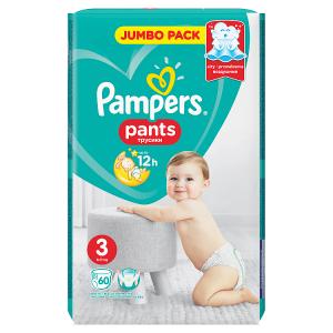 Pampers Pants Vel. 3, 60 Plenkových Kalhotek