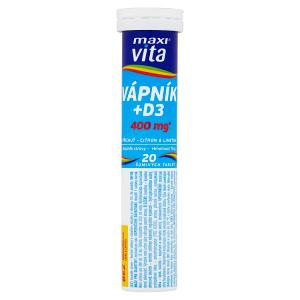 MaxiVita Vápník + D3 příchuť citron & limetka 20 šumivých tablet 76g
