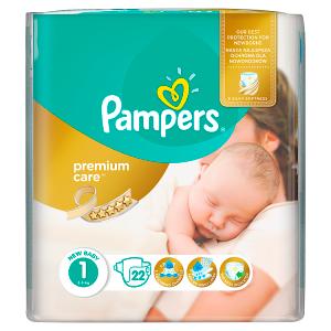Pampers Premium Care Velikost 1 (Newborn) 2-5 kg, 22 Kusů