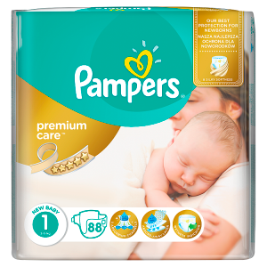 Pampers Premium Care Velikost 1 (Newborn) 2 - 5 kg, 88 Kusů