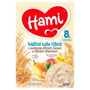 Hami mléčná kaše rýžová s vanilkovou příchutí, ovocem a rýžovými křupinkami od uk. 8. měsíce 225g