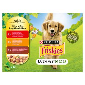 FRISKIES® PES VITAFIT výběr s kuřetem, s hovězím a jehněčím v želé 12 x 100g