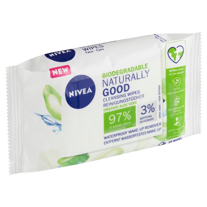 Nivea Naturally Good Biodegradable Čisticí pleťové ubrousky 25 ks