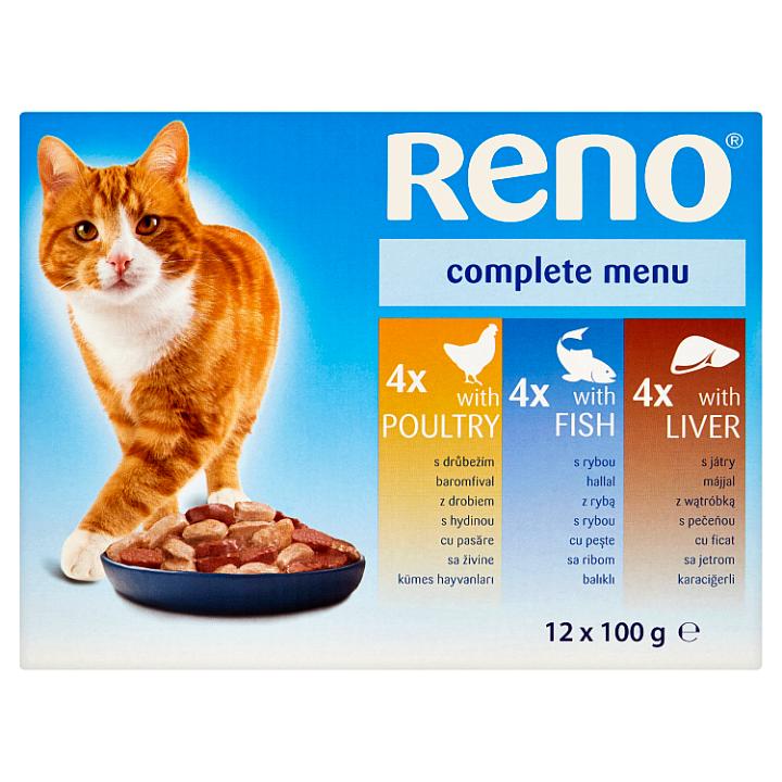 Reno Kompletní krmivo pro dospělé kočky 12 x 100g Reno