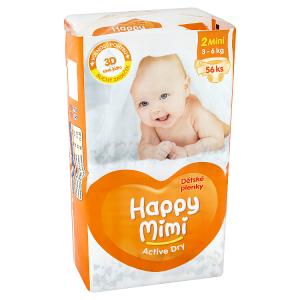 Happy Mimi Active Dry Dětské plenky 2 mini 3 - 6kg 56 ks