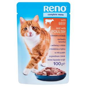 Reno Kompletní krmivo pro dospělé kočky s hovězím a drůbežím 100g