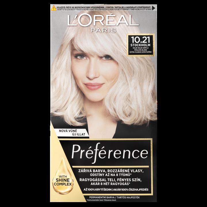 L'Oréal Paris Préférence permanentní barva na vlasy 10.21 Stockholm-velmi velmi světlá perlová blond, 60+90+54 ml