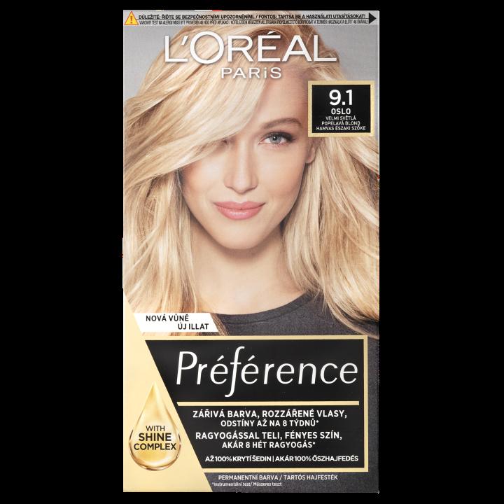 L'Oréal Paris Préférence permanentní barva na vlasy 9.1 Oslo-velmi světlá popelavá blond, 60+90+54 ml