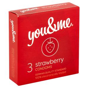 You & Me Strawberry průhledné hladké kondomy s vůní jahody, 3 ks