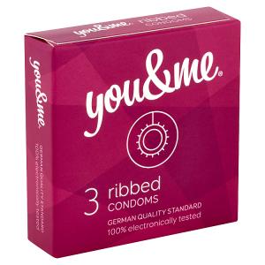 You & Me Ribbed průhledné vroubkované kondomy s lubrikací, 3 ks