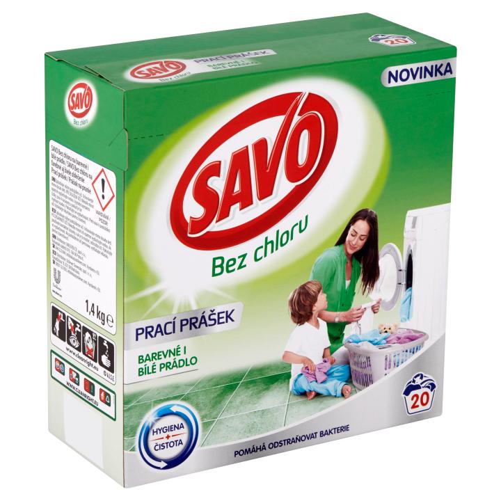 Savo Bez chloru Universal prací prášek na barevné a bílé prádlo 20 praní