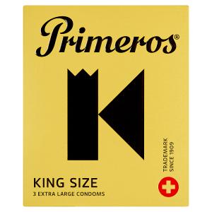 Primeros King Size extra velké kondomy cylindrického tvaru se svěží vůní, 3 ks