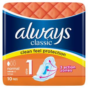 Always Classic Normal Hygienické Vložky SKřidélky 10ks