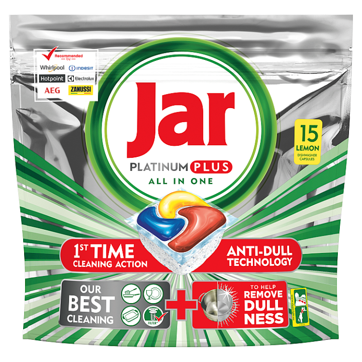 Jar Platinum Plus Lemon Kapsle Do Automatické Myčky Nádobí, 15 ks