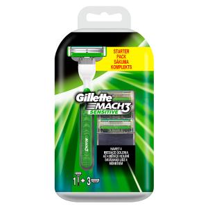 Gillette Mach3 Sensitive Pánský Holicí Strojek + 4 holicí hlavice