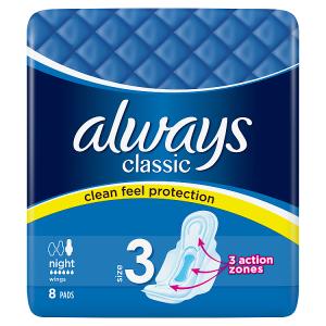 Always Classic Night Hygienické Vložky SKřidélky 8ks