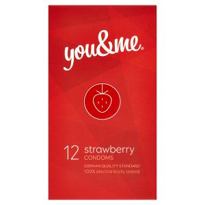 You & Me Strawberry průhledné hladké kondomy s vůní jahody, 12 ks