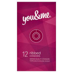 You & Me Ribbed průhledné vroubkované kondomy s lubrikací, 12 ks