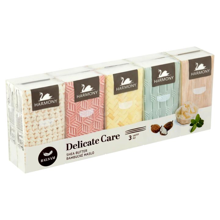 Harmony Delicate Care Balsam bambucké máslo papírové kapesníky 3 vrstvy 10 x 10 ks