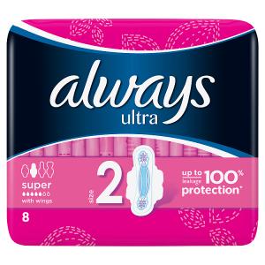 Always Ultra Long Vel.2 Hygienické Vložky SKřidélky 8ks