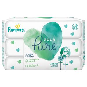 Pampers Aqua Pure Dětské Čisticí Ubrousky 3 Balení = 144 Ubrousků