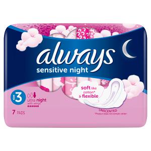 Always Ultra Sensitive Night Vložky SKřidélky (Velikost 3) 7ks