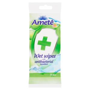 Ameté Vlhčené ubrousky s antibakteriální přísadou 15 ks