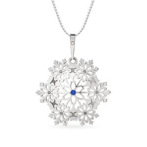 PRAQIA Stříbrný přívěsek na řetízku Snowflake