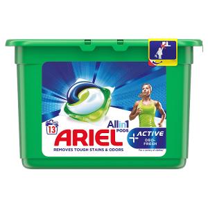 Ariel Allin1 Pods +Active Odor Defense Kapsle Na Praní, 13 Praní