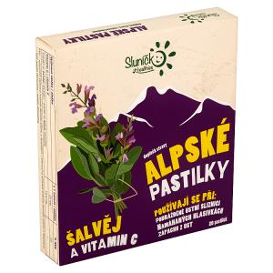 Sluníčko Healthies Alpské pastilky šalvěj a vitamin C 20 pastilek 50g