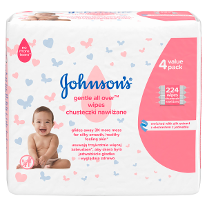 Johnson's Gentle All Over Vlhčené ubrousky 224 ks