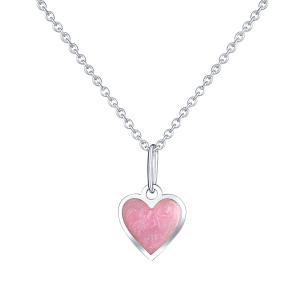 PRAQIA Dětský stříbrný přívěsek na řetízku Růžové srdce