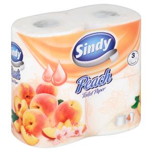 Sindy Peach toaletní papír 3 vrstvy 4 role