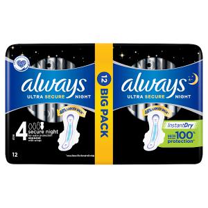 Always Ultra Secure Night (Velikost 4) Hygienické Vložky S Křidélky 12 ks
