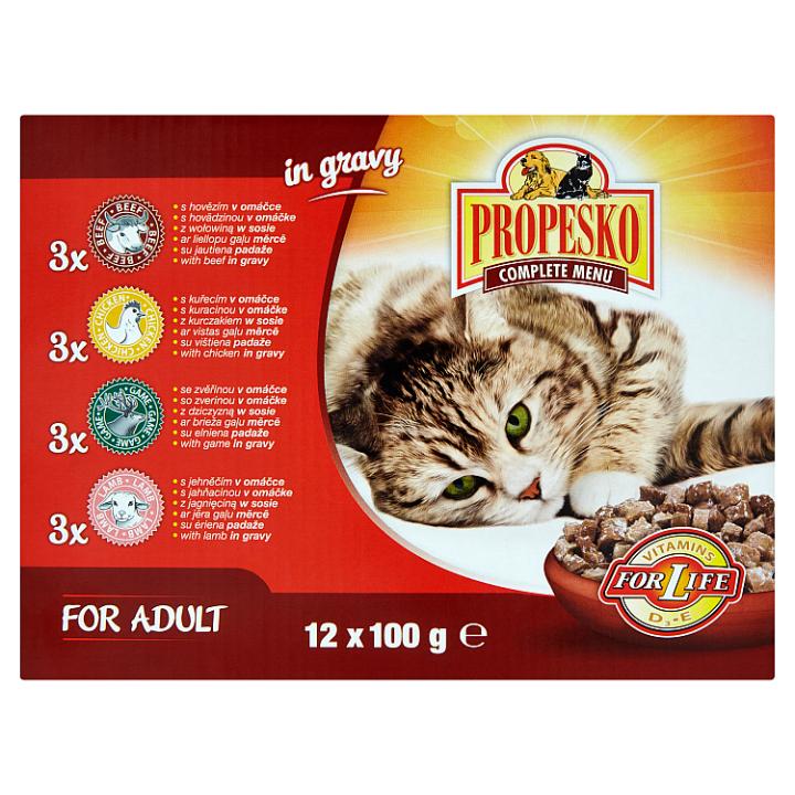 Propesko Kompletní krmivo pro dospělé kočky 12 x 100g Propesko