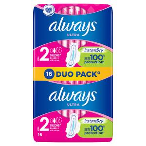 Always Ultra Super  (Velikost 2) Hygienické Vložky S Křidélky 16 ks