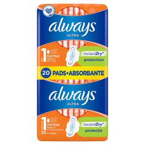 Always Ultra Normal (Velikost 1) Hygienické Vložky S Křidélky 20 ks
