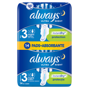 Always Ultra Night (Velikost 3) Hygienické Vložky S Křidélky 14 ks