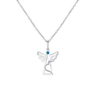 PRAQIA Stříbrný přívěsek na řetízku Blue Angel